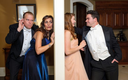 """Richard Marlatt, left, Sarab Kamoo, Hope Shangle and Nick Yocum in """"A Comedy of Tenors"""" at Tipping Point Theatre."""