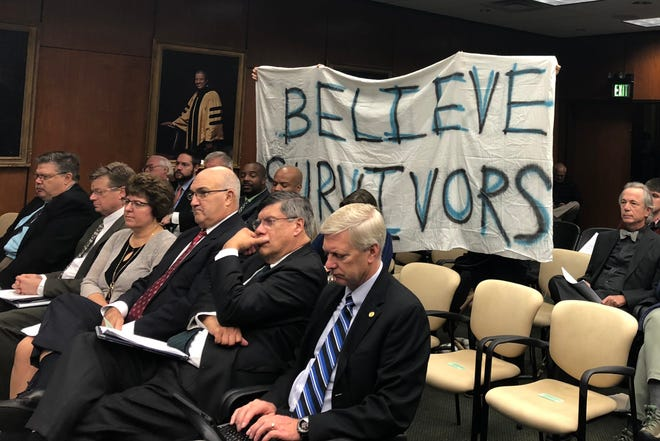 Allies of Larry Nassar victims demand that Michigan State University restore the $10 million Healing Assistance Fund during the Oct. 26 meeting of the Board of Trustees.