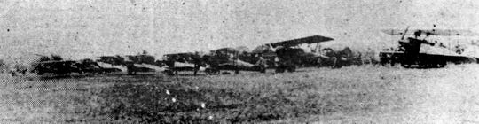 Airplanes line up at the Elmira airport on Caton Avenue on Sept, 12, 1927.