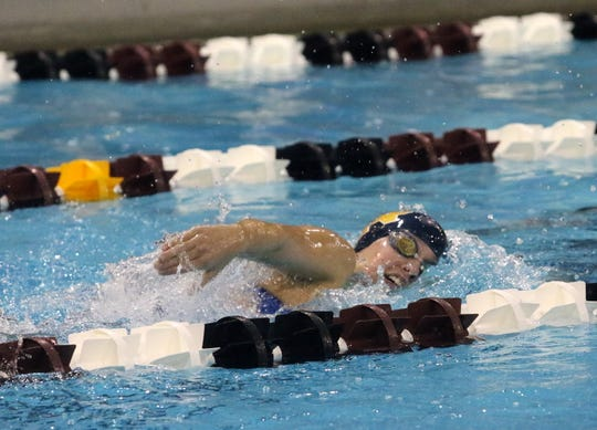 Elmira Notre Dame senior Catherine Craig competes in the 500-yard freestyle at the Dr. Jack Thomas Girls Swimming & Diving Invitational at Ernie Davis Academy on Oct. 13.