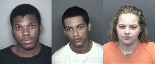 From left to right: Xzereus Dlamini, Connor Johnson and Mackayla Scarbrough. Vanderburgh County officials are pursuing charges against all three in the fatal shooting of a 65-year-old Evansville man.