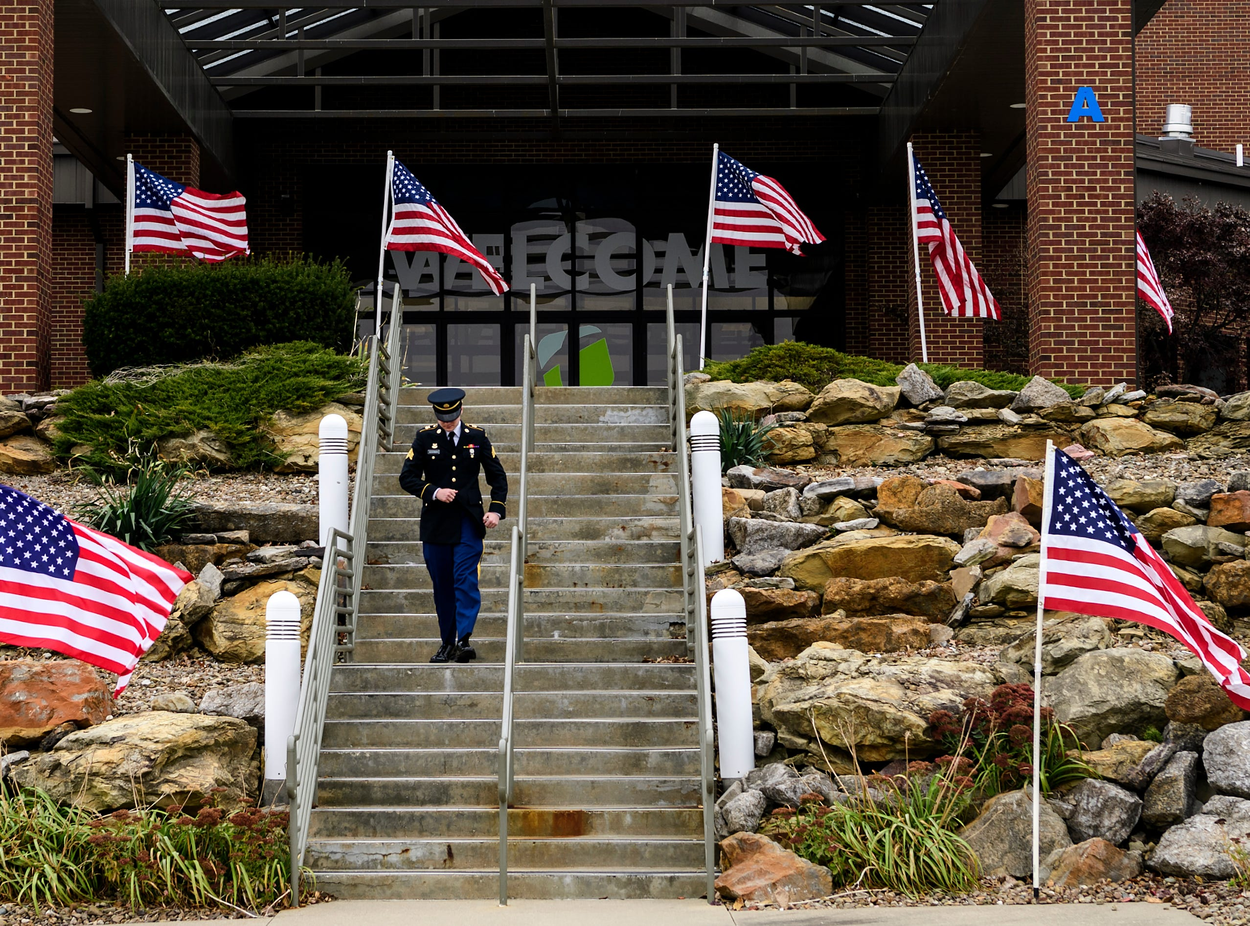 "Sgt. Aj Goodman of Evansville walks outside of Evansville's Christian Fellowship Church, where a visitation is held for family and friends of Sgt. Drew Watters, Tuesday afternoon, Nov. 13, 2018. Visitation hours will be be offered from noon until 2 p.m. Wednesday, Nov. 14, before the start of a ""Celebration of Life"" ceremony to honor the 23-year-old Evansville native, who recently died during a training exercise at Joint Base Lewis-McChord in Washington."
