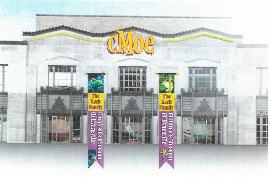 A rendering of what The Koch Family Children's Museum of Evansville's updated signage might look like.