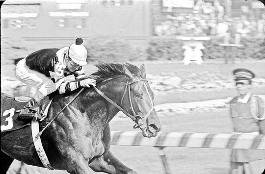 Seattle Slew, with jockey Jean Cruguet aboard, wins the Kentucky Derby on May 7, 1077.  Seattle Slew went on to win the Triple Crown of thoroughbred racing. By .