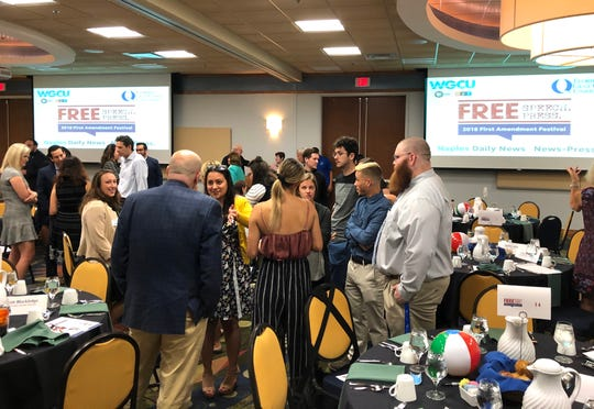 Participating journalists and students share their thoughts before the kickoff of 2018 First Amendment Festival at FGCU in Estero on Tuesday, Nov. 13, 2018.