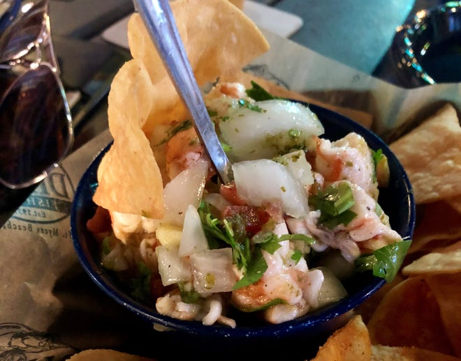 Dixie Fish Co. makes its ceviche with buttery Gulf shrimp hauled in by the shrimp boats out back.
