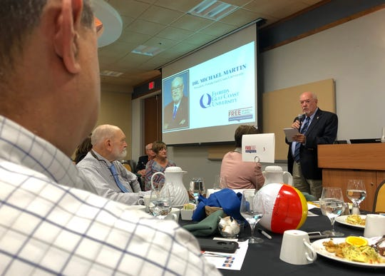Dr. Michael Martin, President, Florida Gulf Coast University makes his speech before participants of 2018 First Amendment Festival at FGCU in Estero on Tuesday, Nov. 13, 2018.
