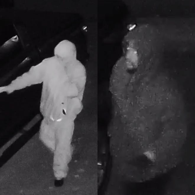 The two suspects were caught on video surveillance breaking into a deputy's vehicle early Monday, Nov. 12, 2018.