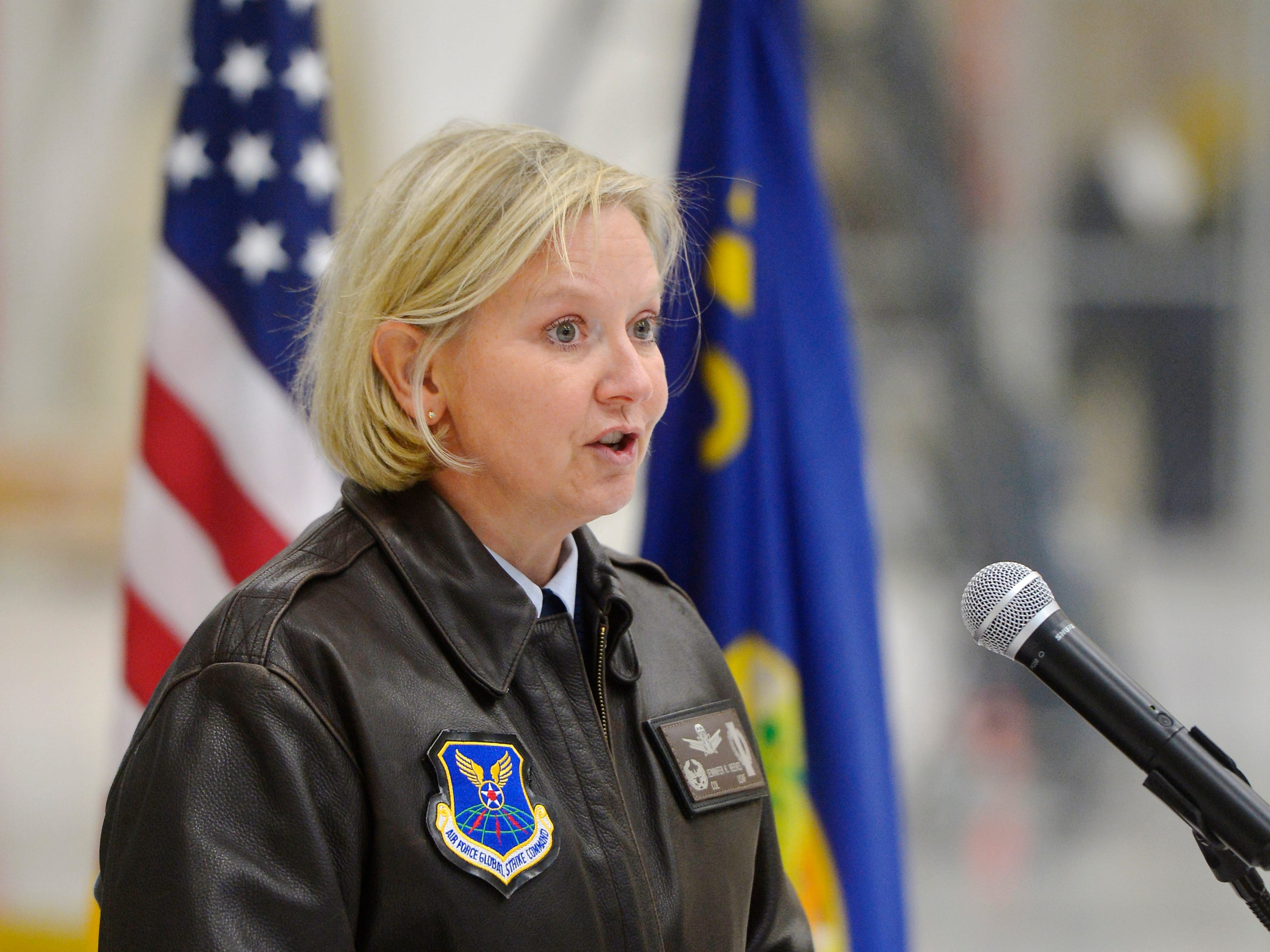 Col. Jennifer Reeves, Commander of the 341st Missile Wing at Malmstrom Air Force Base, makes her remarks during the fifth anniversary ceremony for the Veterans Treatment Court on Tuesday at the Montana Air National Guard.