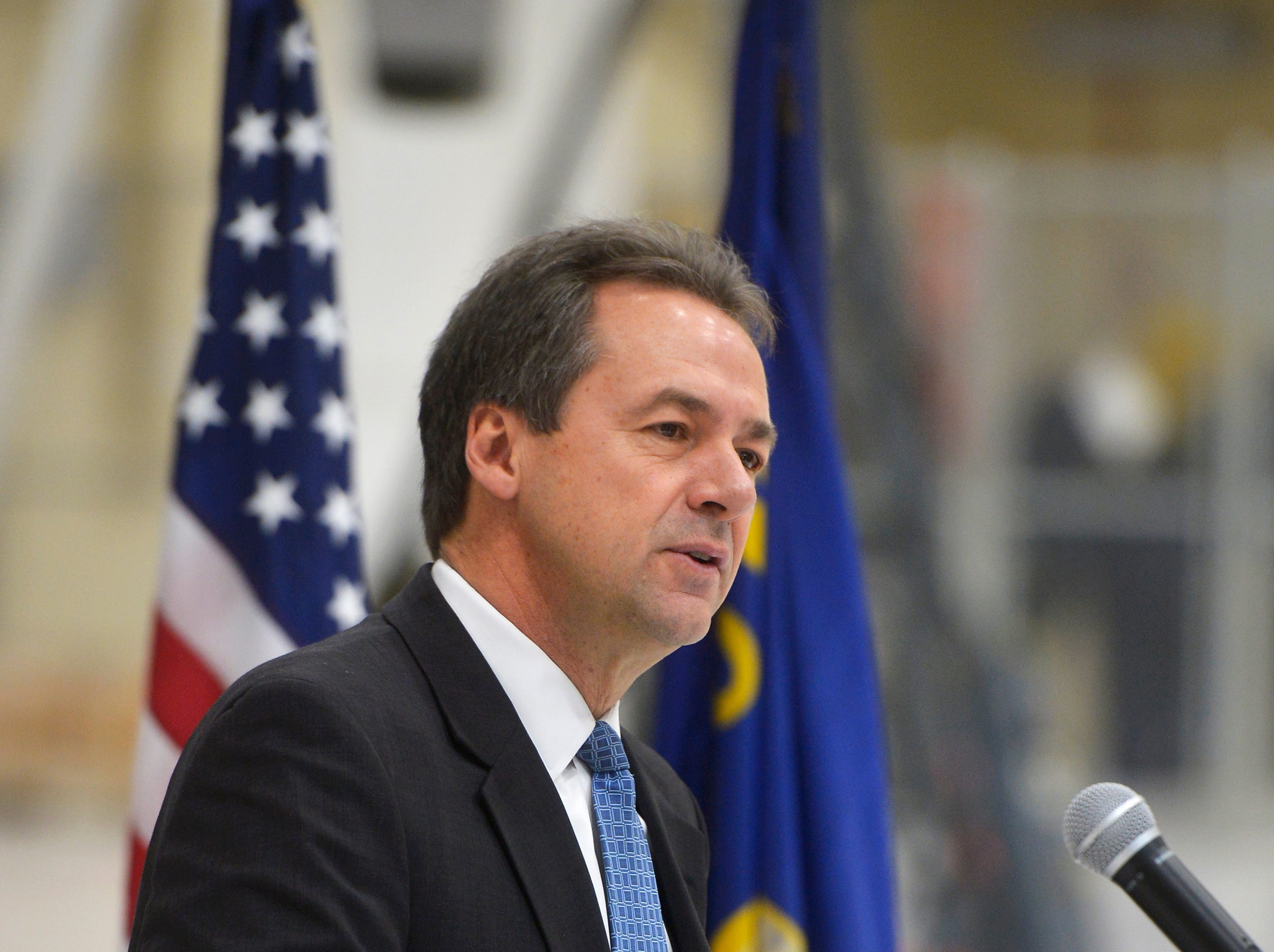 Gov. Steve Bullock makes his remarks during the fifth anniversary ceremony for the Veterans Treatment Court on Tuesday at the Montana Air National Guard.