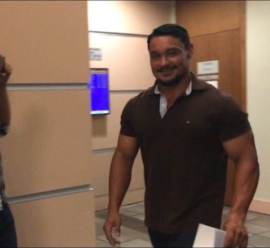 Stephen Cahill, a former teacher who had sex with a then-female high school student, leaves the Superior Court of Guam in Hagåtña after he pleaded guilty to official misconduct on Tuesday Nov. 13, 2018.