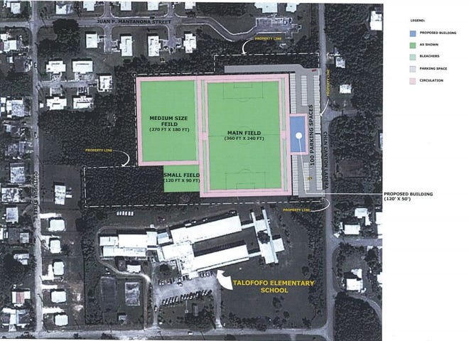 A proposed site plan for the Guam Football Association's planned new soccer complex in Talofofo, which could be built behind Talofofo Elementary School.