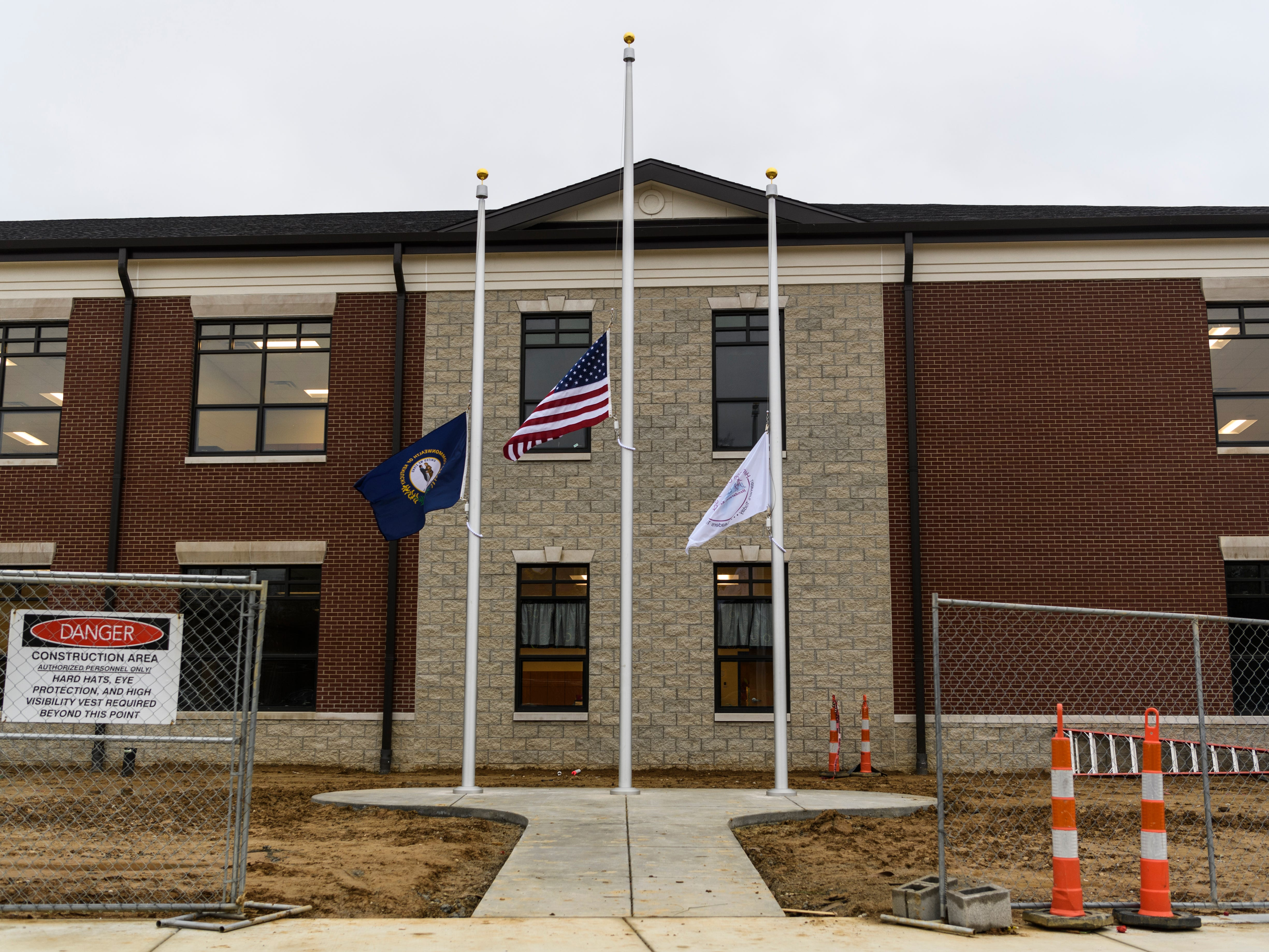 Construction is still happening on various parts of the new Spottsville Elementary School building in Henderson County, Ky. Faculty and students had their first school day inside the new $17 million, 76,796 square-foot facility, Monday, Nov. 12.