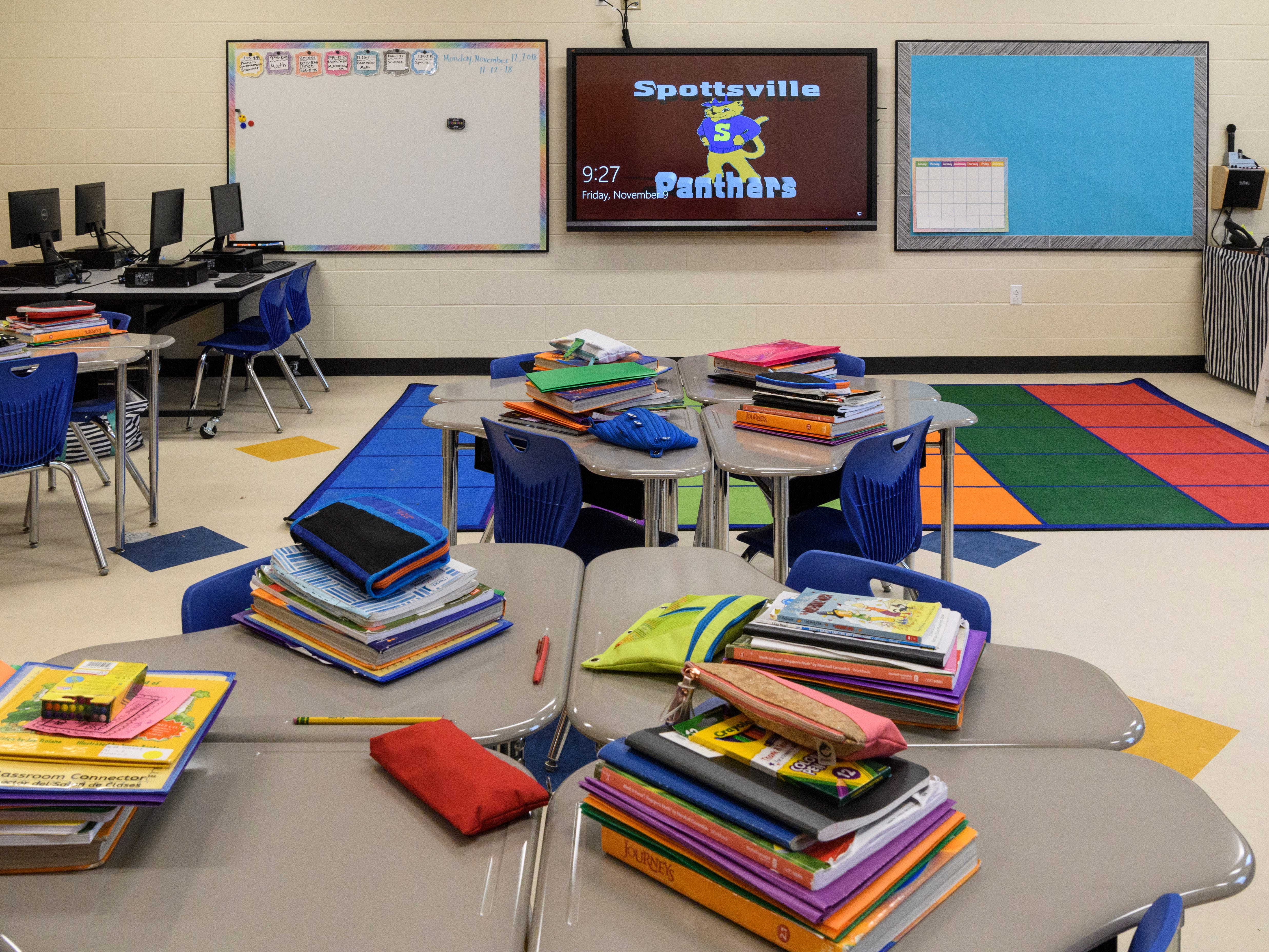 A Spottsville Elementary school classroom filled with student books begins to look move-in ready, Friday morning, Nov. 9, 2018. Faculty and students had their first school day inside the new $17 million, 76,796 square-foot facility, Monday, Nov. 12.