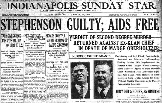 Front page of The Indianapolis Sunday Star on Nov. 15, 1925 announcing the conviction of D.C. Stephenson for murder.