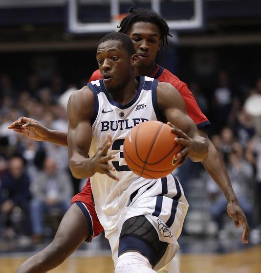 The Butler Bulldogs Taks On The Detroit Titans In Ncaa Basketball Action