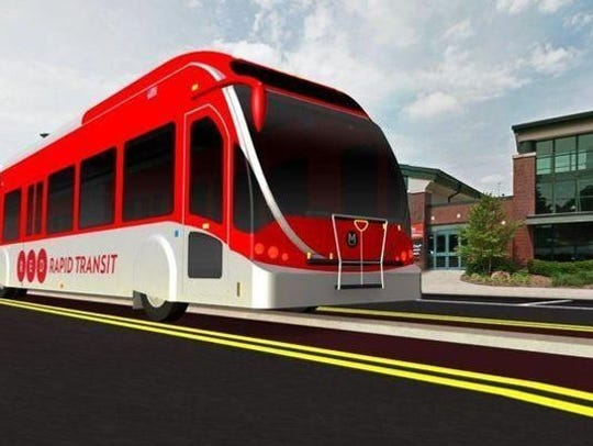 Artist's illustration of Red Line BRT bus line proposal that is now being built in Indianapolis.