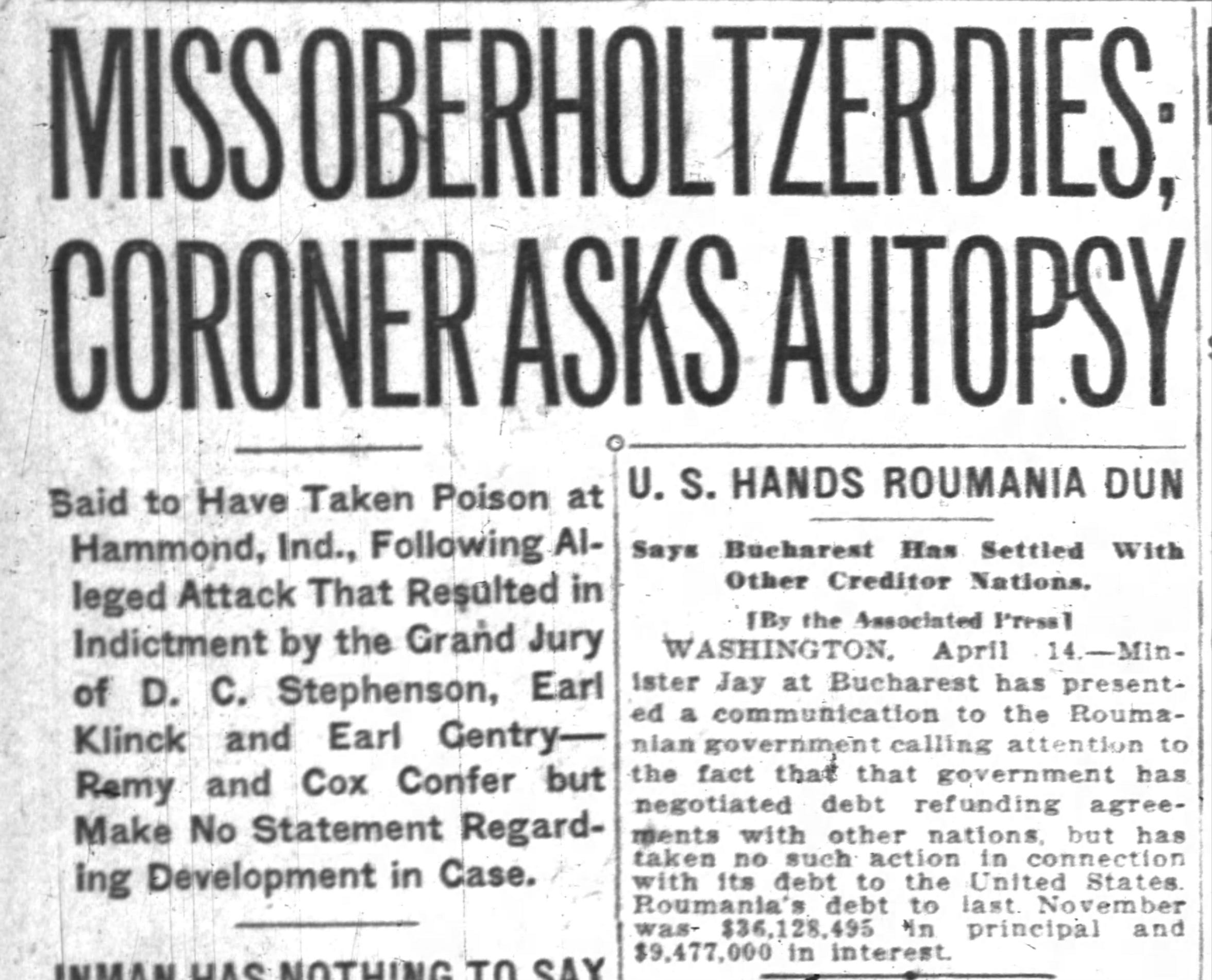 Madge Oberholtzer dies, April 14, 1925 Indianapolis News story