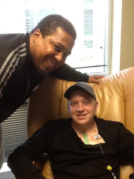 Mike Hart visits with Matt Stauder.