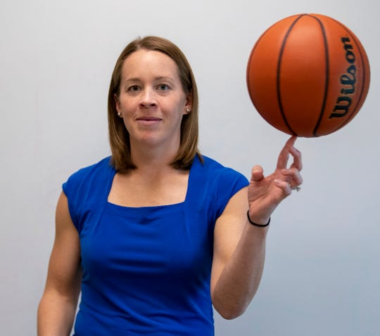 Melanie White (formerly Boeglin), of Indiana State University, will have her jersey retired and placed next to Larry Bird's at an upcoming ceremony at the Terre Haute school, Indianapolis, Tuesday, Nov. 13, 2018.