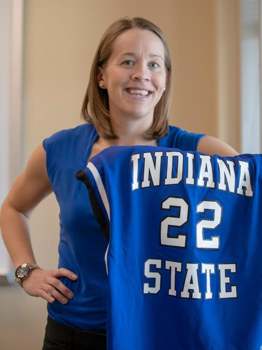 Indiana State University S Melanie Boeglin S Jersey Will Join Larry Bird S