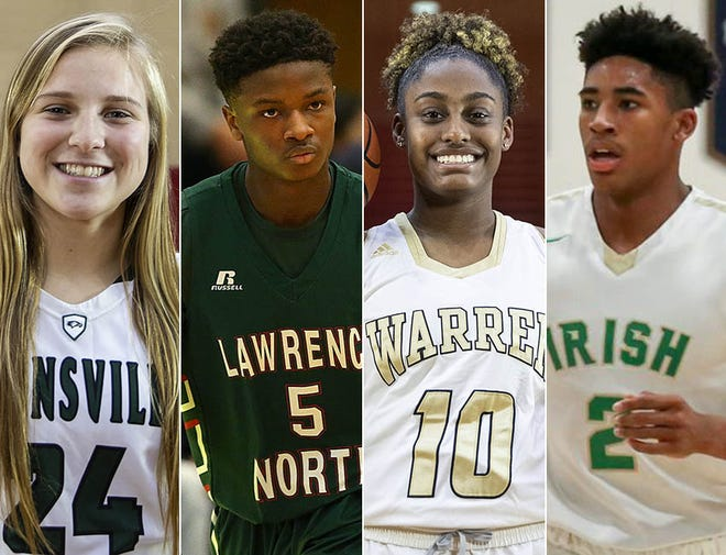 Left to right: Zionsville's Maddie Nolan, Lawrence North's Jared Hankins, Warren Central's Shaila Beeler and Cathedral's Armaan Franklin.