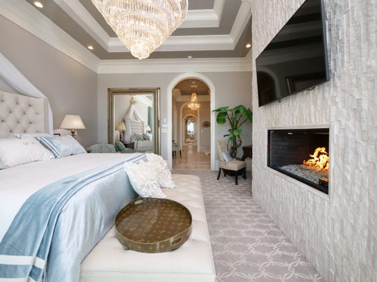 A bedroom at Villa Vista in Knoxville, Tennessee. The $6M home will be auctioned off Dec. 8, 2018.