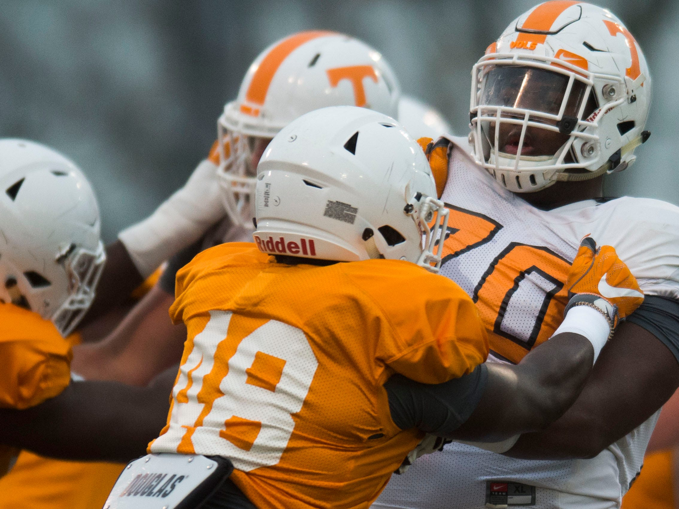 Tennessee players participate in a drill during a University of Tennessee football practice, Tuesday, Nov. 13, 2018.