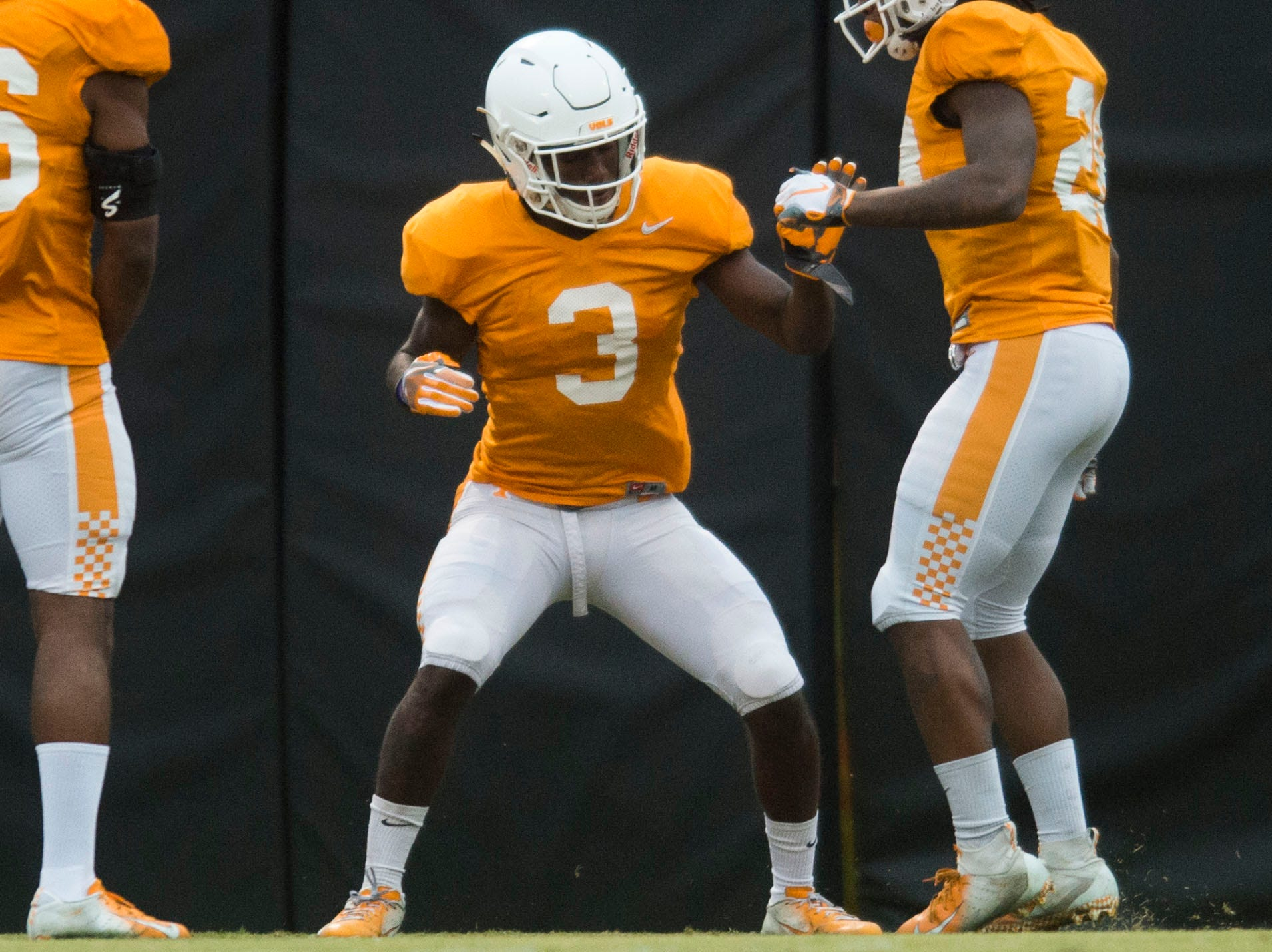 Tennessee defensive back Marquill Osborne (3) participates in a drill with a teammate during a University of Tennessee football practice, Tuesday, Nov. 13, 2018.