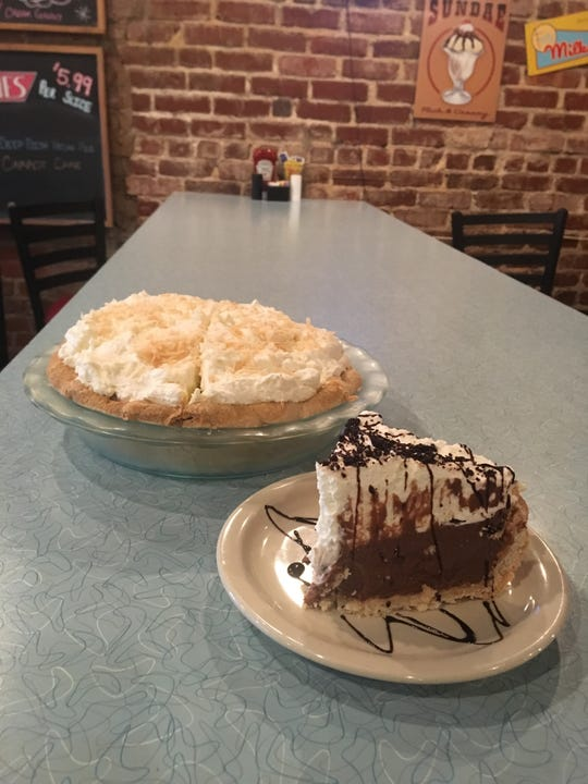 Fountain City Diner's most popular pies are the coconut cream and chocolate cream pies.