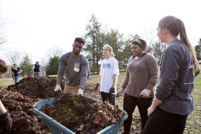 University of Tennessee, Knoxville, students volunteer at the Knoxville Botanical Garden in 2017. Through UT's Center for Leadership and Service, students have logged more than 500,000 hours of service since 2012.