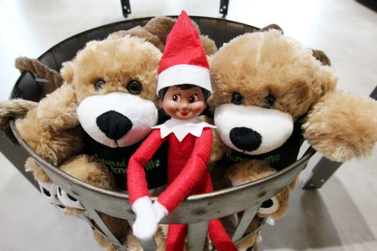 Vollie Knox, the elf at the Knoxville Visitor Center, moves around and was found hanging out with some stuffed animals.
