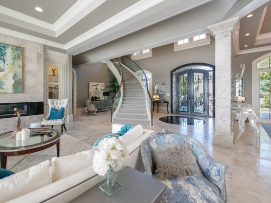 The living area at Villa Vista in Knoxville, Tennessee. The $6M home will be auctioned off Dec. 8, 2018.