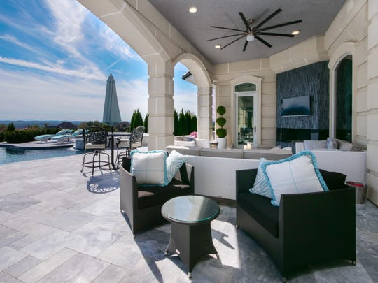 Outdoor living space at Villa Vista in Knoxville, Tennessee. The $6M home will be auctioned off Dec. 8, 2018.
