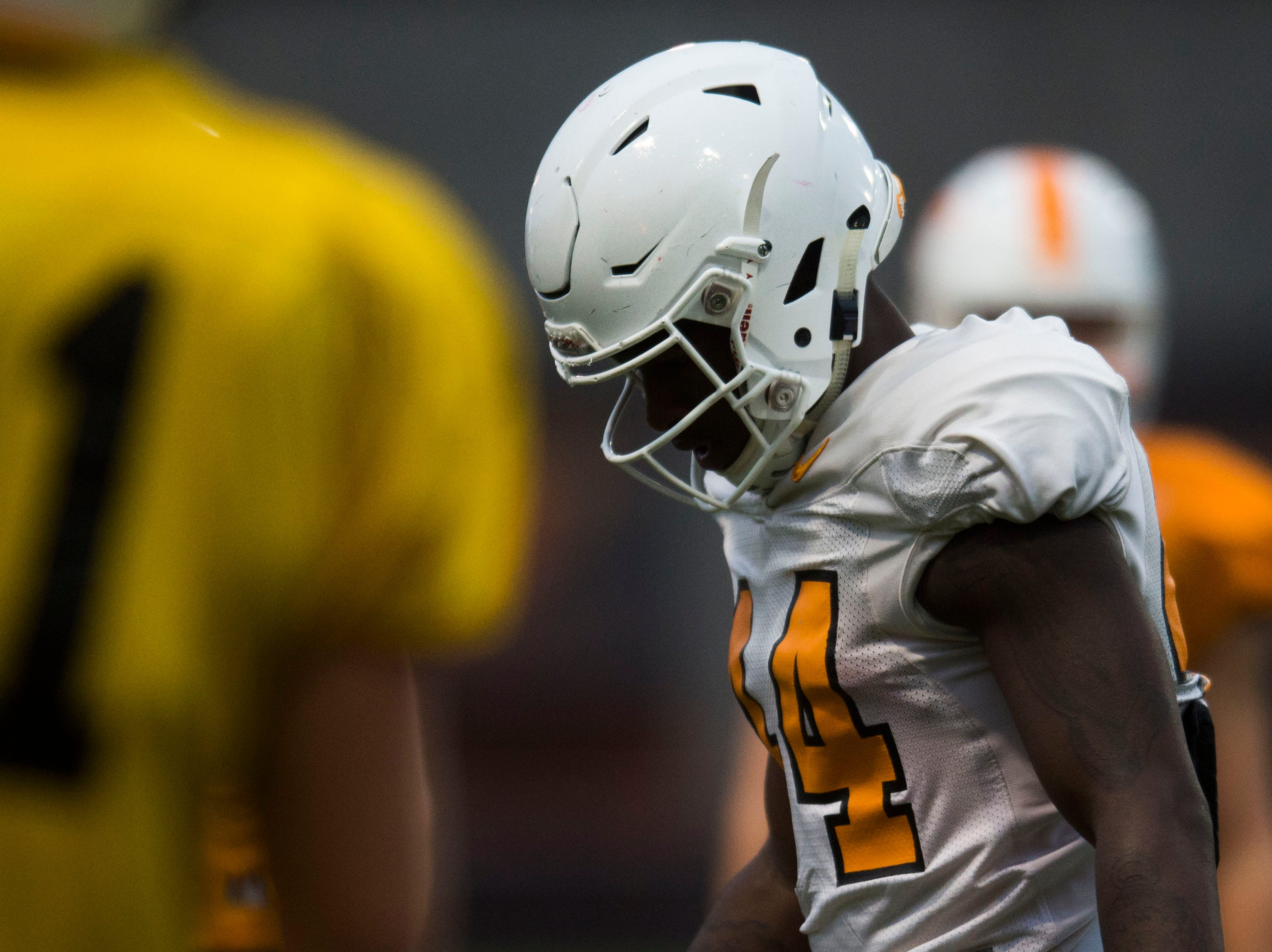 Tennessee running back Princeton Fant (44) participates in a drill during a University of Tennessee football practice, Tuesday, Nov. 13, 2018.