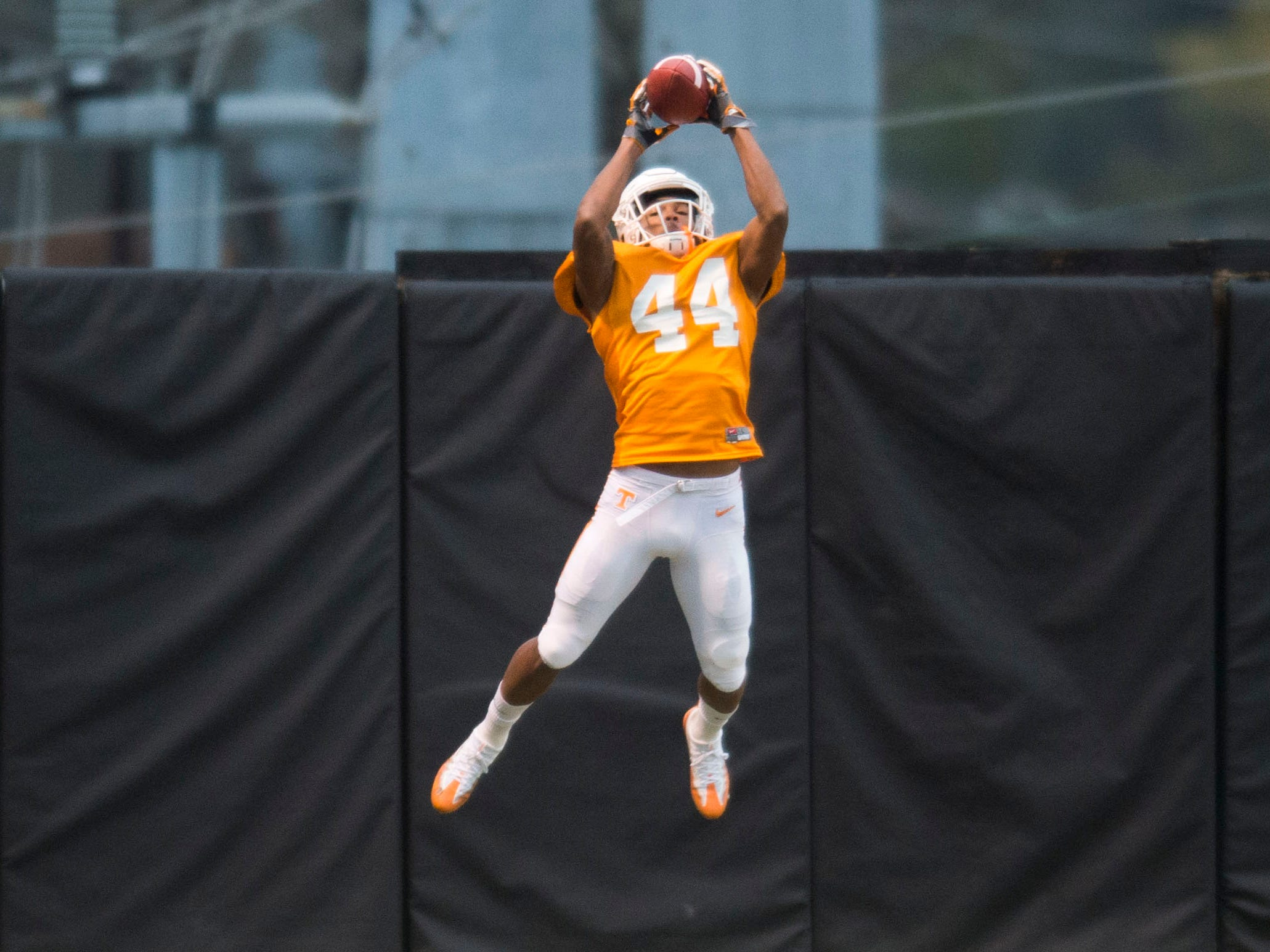 Tennessee defensive back Cheyenne Labruzza (44) makes a catch during a University of Tennessee football practice, Tuesday, Nov. 13, 2018.