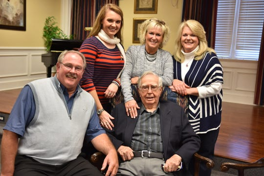 The family of Syl Baldridge gathered to celebrate his 100th birthday on Sunday, Nov. 11, 2018 at Island Home Baptist Church. Pictured with Syl are (from left) son Kreis Baldridge, granddaughter Kreistyn Baldridge, daughter Betsy Baldridge Taylor and daughter-in-law Roberta Baldridge.
