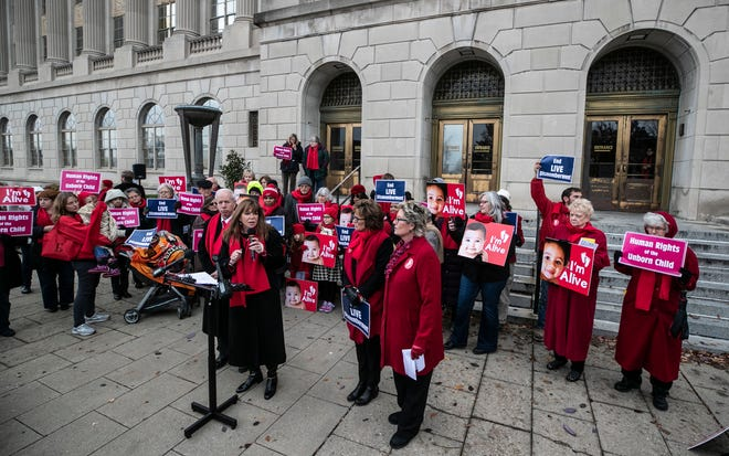"Ky. Rep. Addia Wuchner of Boone County spoke to anti-abortion supporters and the media outside the Federal Courthouse in Louisville Nov. 13, 2018. ""The vast majority of Kentuckians do not support abortion, particularly not this grotesque practice."" Wuchner and fellow representative Joe Fischer joined Gov. Matt Bevin to support Kentucky's Live Dismemberment Law."