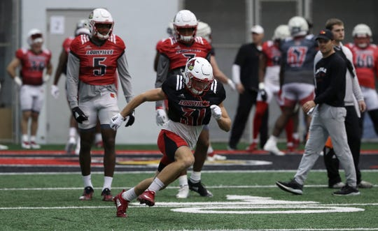 Louisville football practices at the Trager Center.  