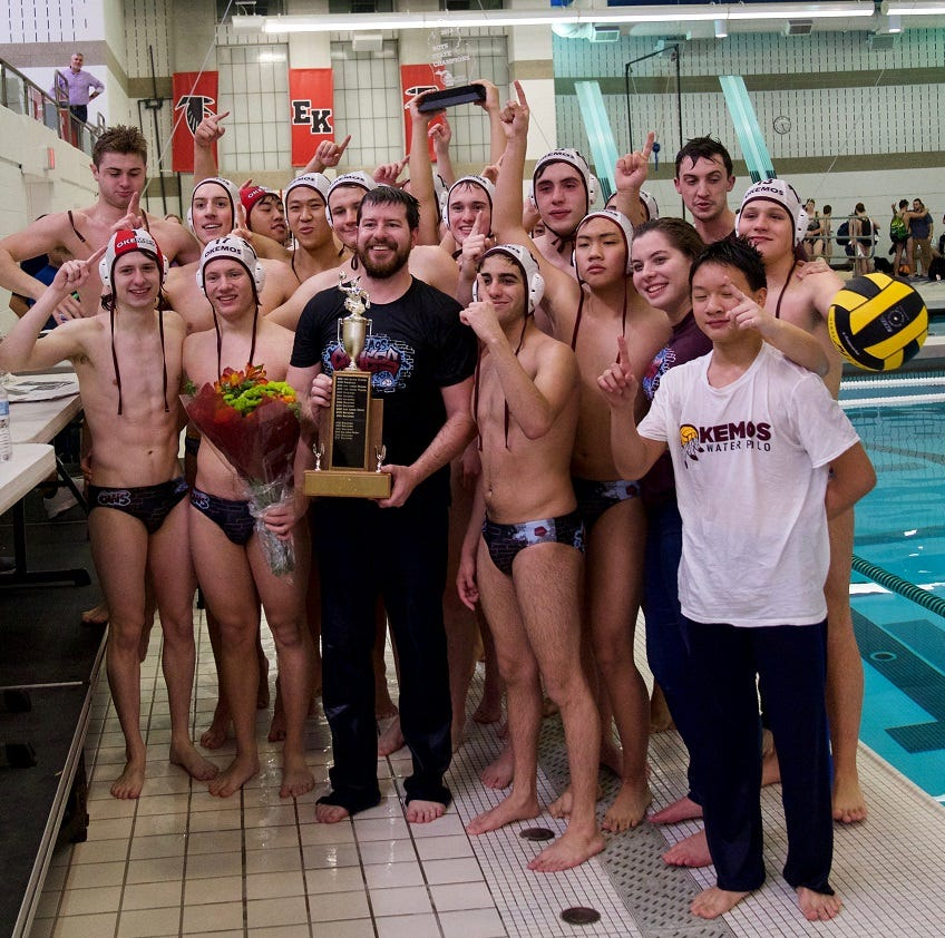 The Okemos boys water polo team captured its first state championship Saturday with an 11-10 victory over Hudsonville.
