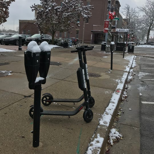 As of 9 a.m. Nov. 13, there were several Bird scooters that lined the streets of downtown Lansing.