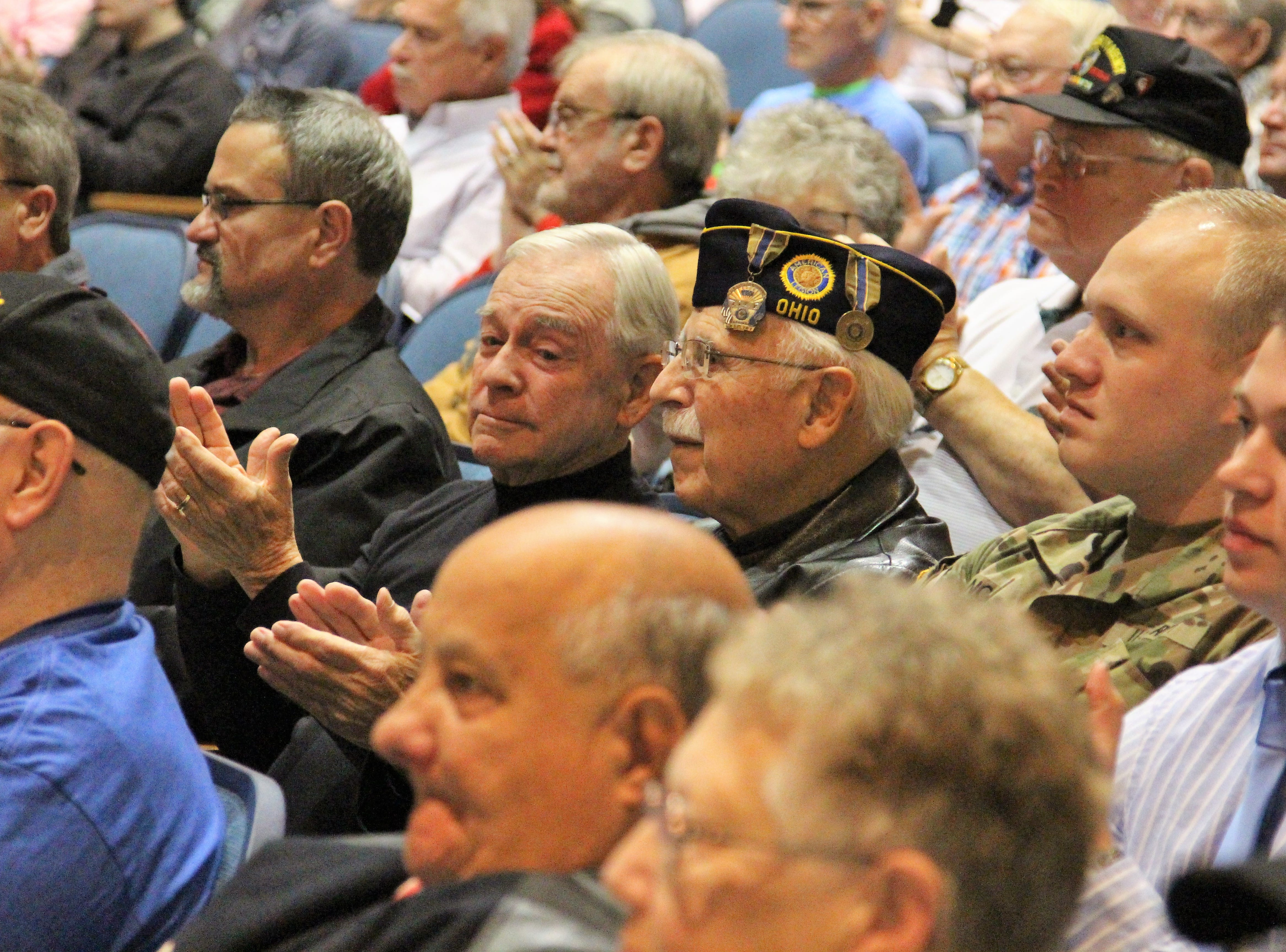 The crowd listened on Tuesday as River Valley students gave speeches and recanted poems. The district wanted to thank local veterans for their service, inviting family members, friends, teachers and former students to partake.