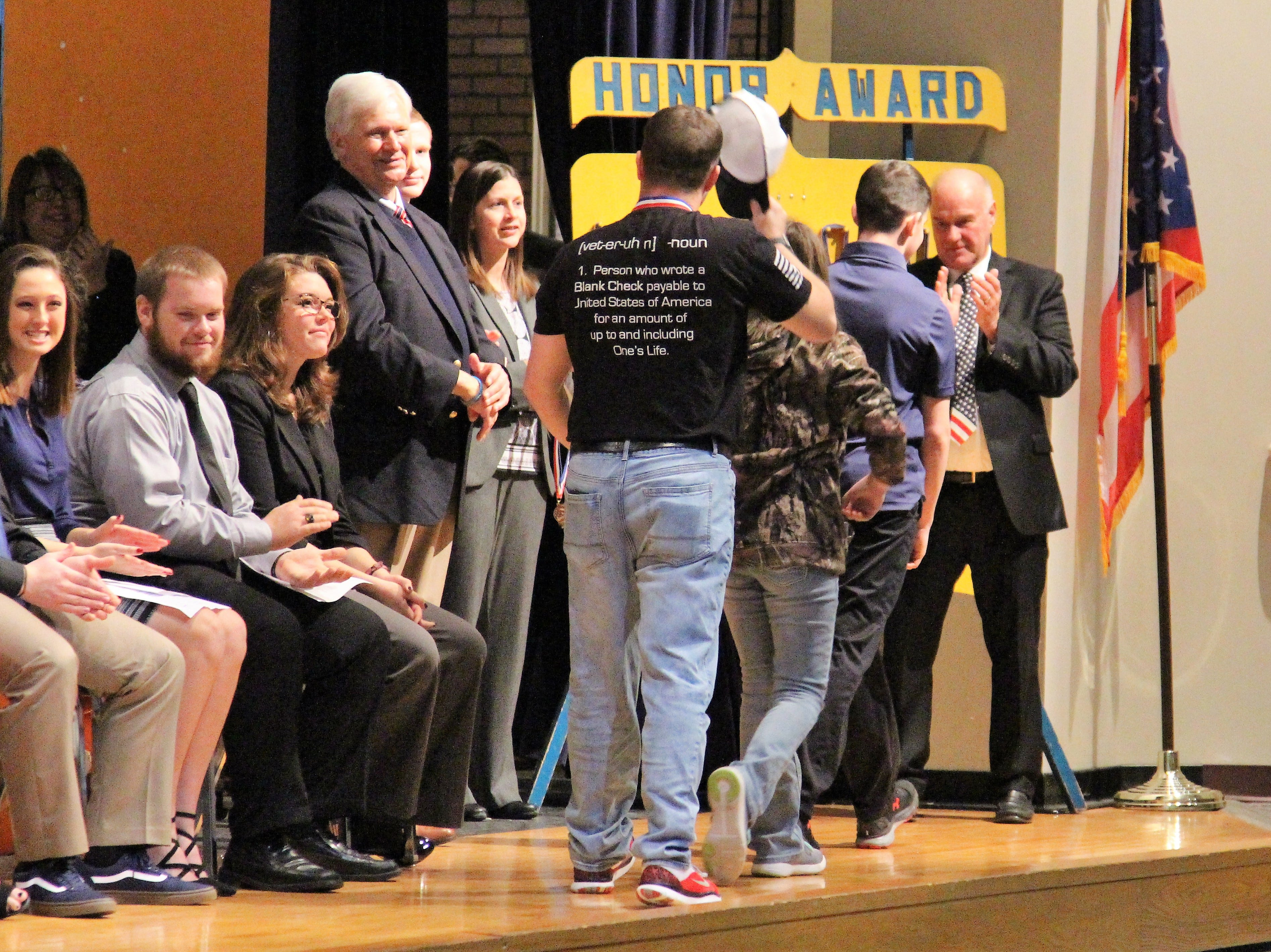 Veterans walked across the stage of the auditorium at River Valley High School Tuesday morning. They had been invited by students and teachers to take part in an annual celebration that has taken place for 25 years.