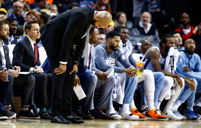 Memphis Grizzlies head coach J.B. Bickerstaff reacts after a foul call earlier in the season. A month ago, the Grizzlies were in first place in the West. Since then, they've dropped 10 of their last 14 games and plummeted in the standings.