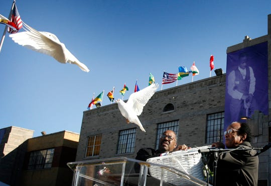 Doves are released outside Mason Temple to help kick off the start of the 100th annual Holy Convocation in November 2007.
