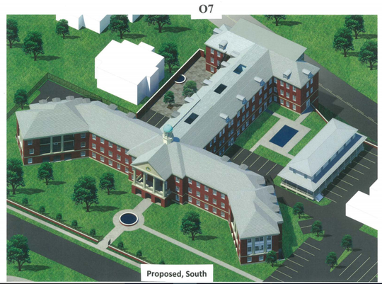 The former U.S. Marine Hospital in Memphis' French Fort neighborhood will be renovated and converted to 71 apartments, as seen in this rendering from Desoto Pointe Partners' application to a local board.