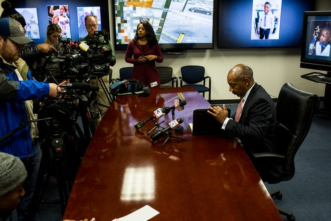 Memphis Police Department Maj. Lambert Ross finishes a press conference Tuesday where he talked about the unsolved case of Richard Jordan III, a 10-year-old boy who was shot to death in a drive-by shooting one year ago.