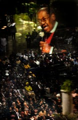 Nov. 14, 2004 - Presiding Bishop G.E. Patterson preaches to a standing-room-only crowd of thousands that filled the Pyramid for the 97th annual COGIC Holy Convocation's morning worship service on Sunday.  Bishop Patterson died March 20, 2007 of heart failure at Methodist University Hospital after battling prostate cancer. He was 67.