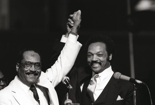 Nov. 13, 1983 - Bishop J.O. Patterson Sr. and Jesse Jackson at Church of God in Christ convocation
