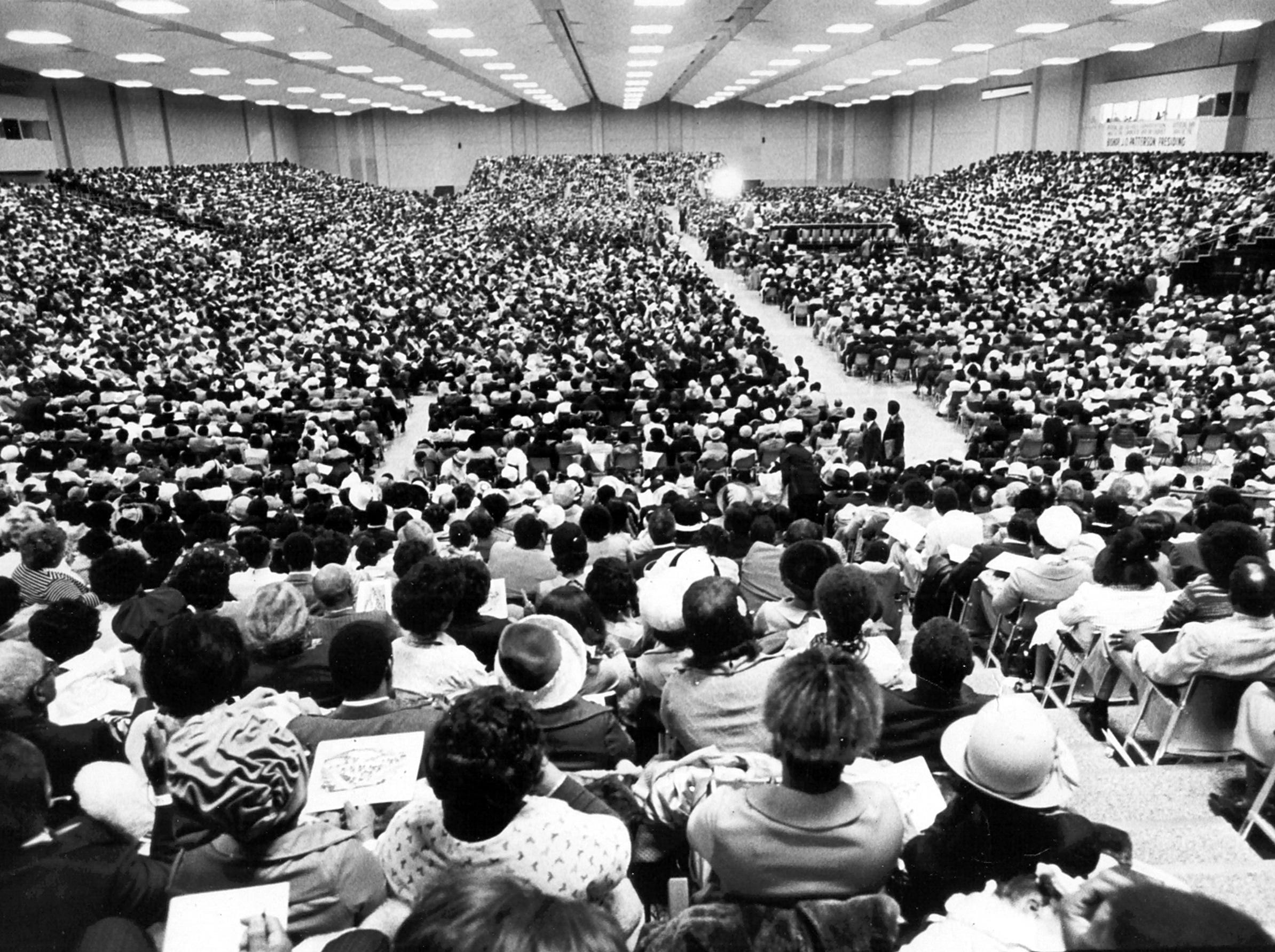 A huge crowd fills the Memphis Cook Convention Center on 14 Nov 1976 to hear Bishop J.O. Patterson speak to the Church of God In Christ convocation.